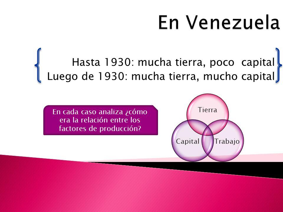 Hasta 1930: mucha tierra, poco capital Luego de 1930: mucha tierra, mucho capital En cada caso analiza ¿cómo era la relación entre los factores de producción?