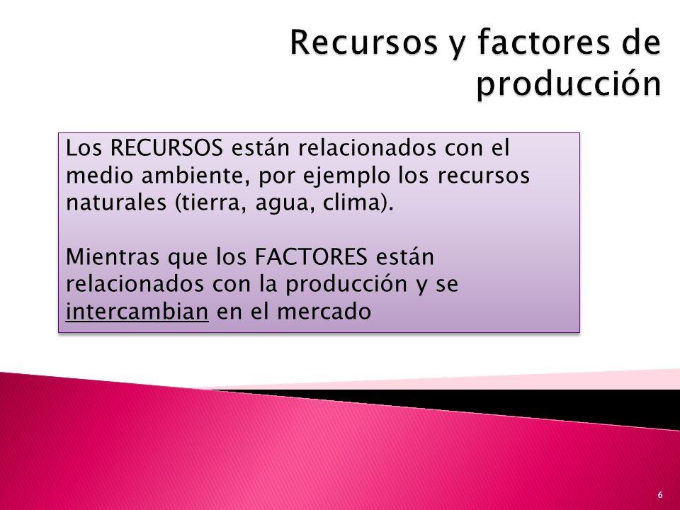 6 Los RECURSOS están relacionados con el medio ambiente, por ejemplo los recursos naturales (tierra, agua, clima).