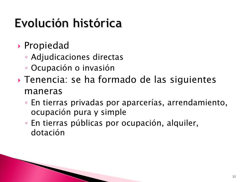 Propiedad Adjudicaciones directas Ocupación o invasión Tenencia: se ha formado de las siguientes maneras En tierras privadas por aparcerías, arrendami