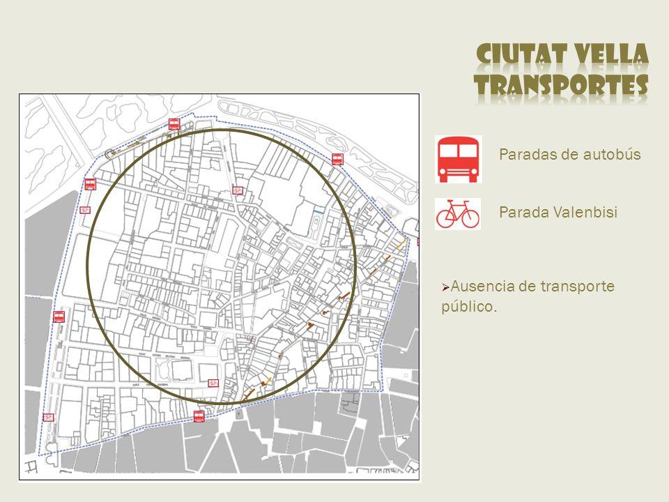 Paradas de autobús Parada Valenbisi Ausencia de transporte público.