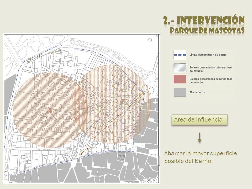 Área de influencia Abarcar la mayor superficie posible del Barrio.