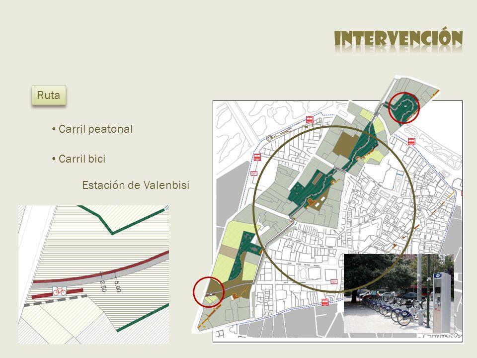 Carril bici Ruta Estación de Valenbisi Carril peatonal