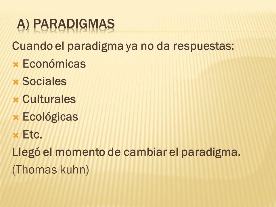 Cuando el paradigma ya no da respuestas: Económicas Sociales Culturales Ecológicas Etc.