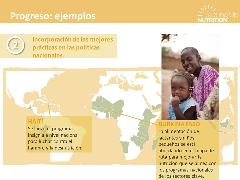 Progreso: ejemplos Incorporación de las mejores prácticas en las políticas nacionales 2 2 BURKINA FASO La alimentación de lactantes y niños pequeños se está abordando en el mapa de ruta para mejorar la nutrición que se alinea con los programas nacionales de los sectores clave.