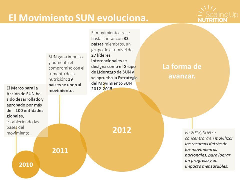 El Movimiento SUN evoluciona. 2010 2011 2012 La forma de avanzar.