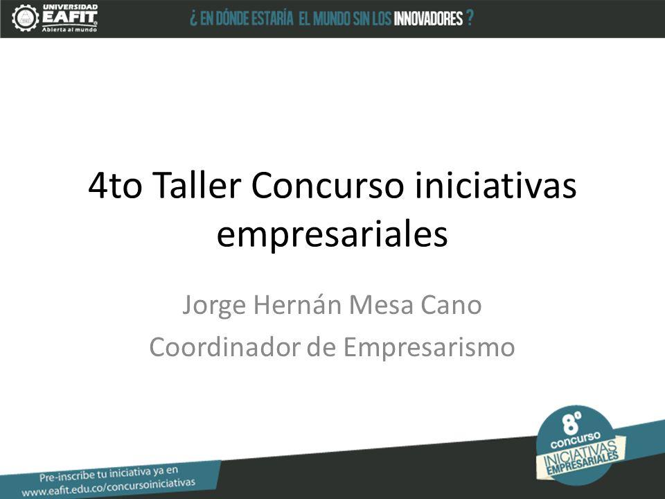 4to Taller Concurso iniciativas empresariales Jorge Hernán Mesa Cano Coordinador de Empresarismo
