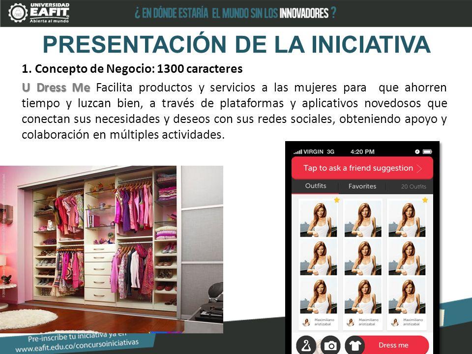 PRESENTACIÓN DE LA INICIATIVA 1. Concepto de Negocio: 1300 caracteres U Dress Me U Dress Me Facilita productos y servicios a las mujeres para que ahor