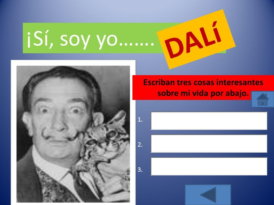 Adivina ¿Quién soy Picasso Joan Miró DALí SIGUIENTE VOLVER