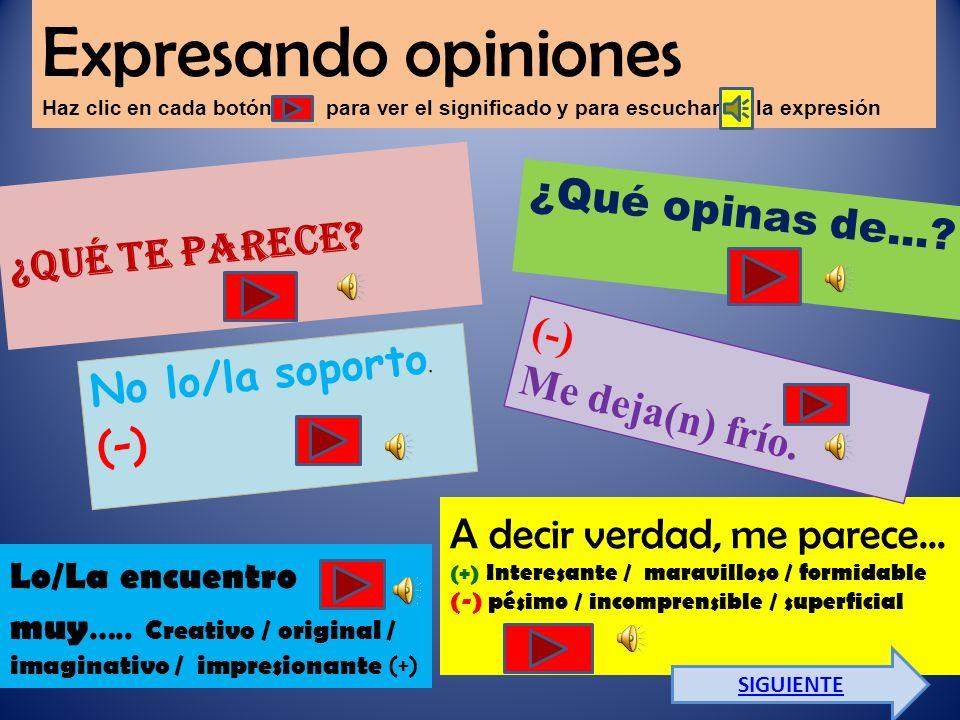 Expresando opiniones Haz clic en cada botón para ver el significado y para escuchar la expresión ¿Qué te parece.
