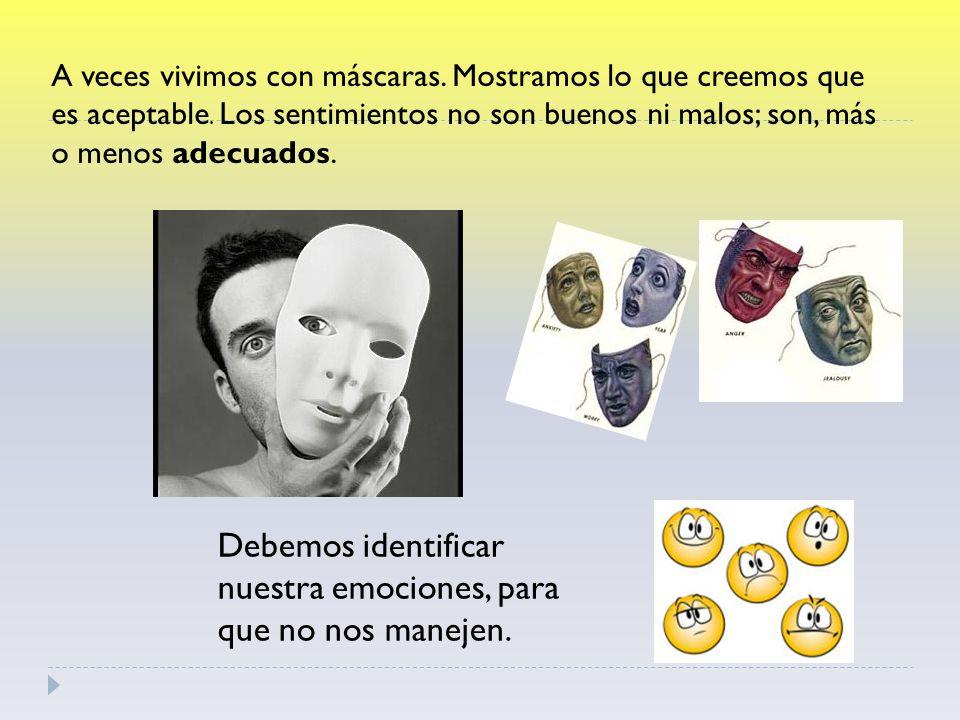 A veces vivimos con máscaras.Mostramos lo que creemos que es aceptable.