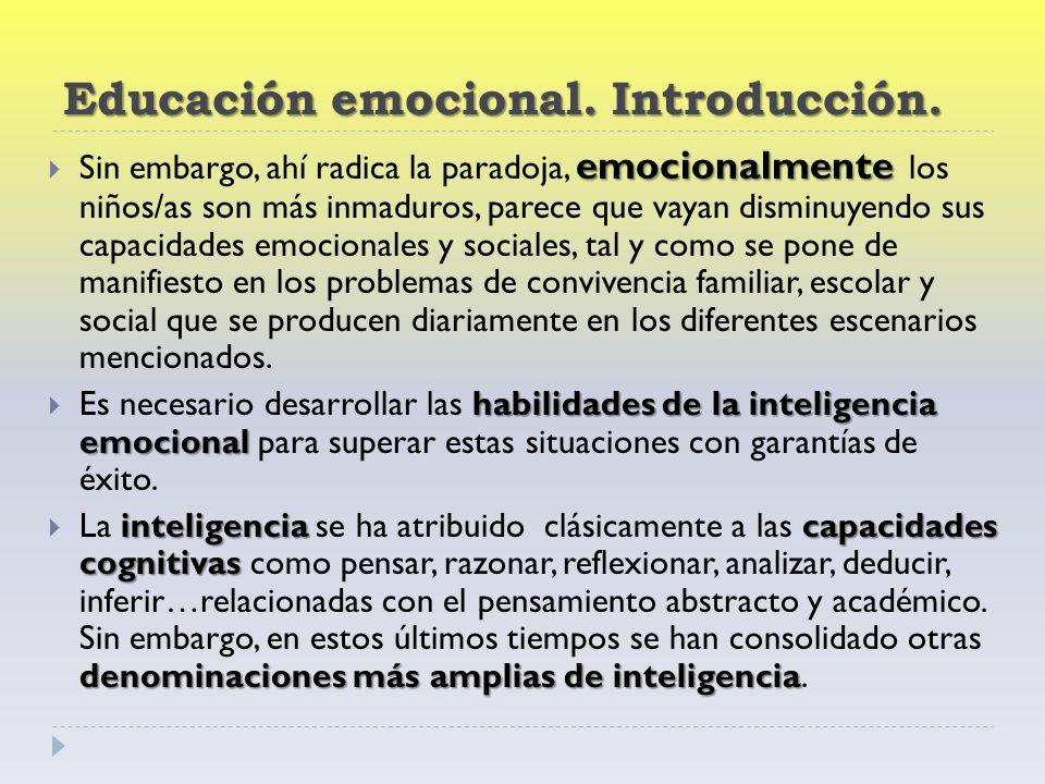 Educación emocional. Introducción.