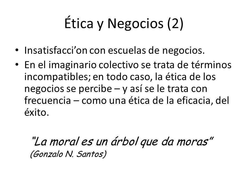 Ética y Negocios (2) Insatisfaccion con escuelas de negocios.