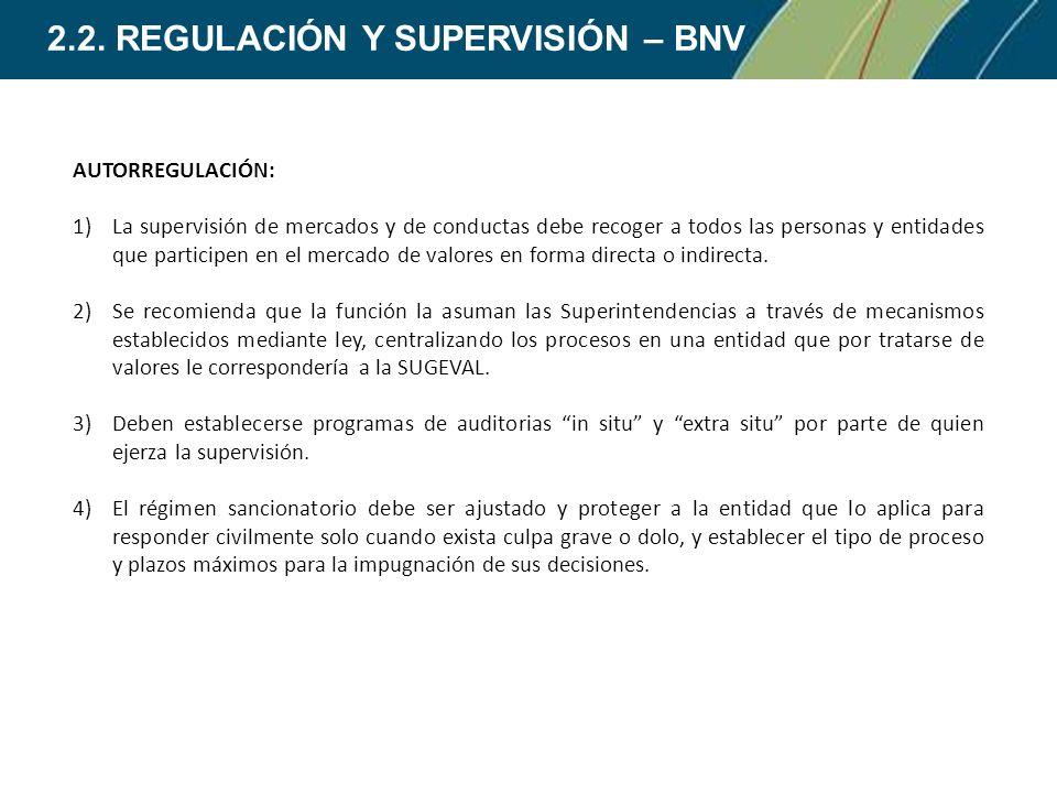 2.2. REGULACIÓN Y SUPERVISIÓN – BNV AUTORREGULACIÓN: 1)La supervisión de mercados y de conductas debe recoger a todos las personas y entidades que par