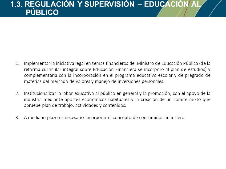 1.3. REGULACIÓN Y SUPERVISIÓN – EDUCACIÓN AL PÚBLICO 1.Implementar la iniciativa legal en temas financieros del Ministro de Educación Pública (de la r