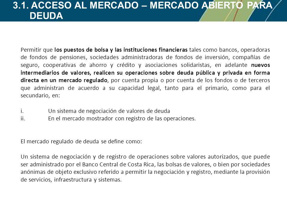 3.1. ACCESO AL MERCADO – MERCADO ABIERTO PARA DEUDA Permitir que los puestos de bolsa y las instituciones financieras tales como bancos, operadoras de