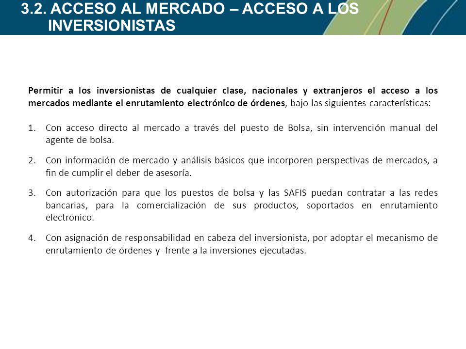 3.2. ACCESO AL MERCADO – ACCESO A LOS INVERSIONISTAS Permitir a los inversionistas de cualquier clase, nacionales y extranjeros el acceso a los mercad