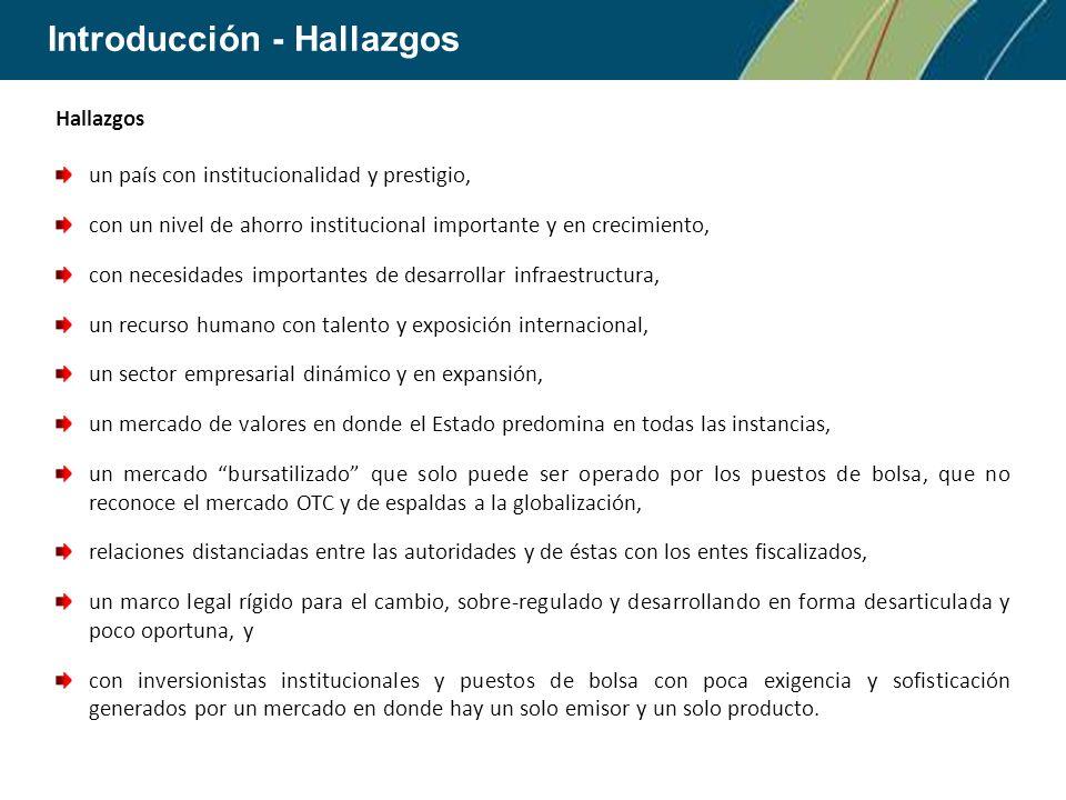Introducción - Hallazgos Hallazgos un país con institucionalidad y prestigio, con un nivel de ahorro institucional importante y en crecimiento, con ne