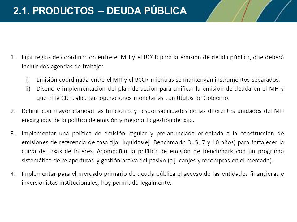 1.Fijar reglas de coordinación entre el MH y el BCCR para la emisión de deuda pública, que deberá incluir dos agendas de trabajo: i)Emisión coordinada entre el MH y el BCCR mientras se mantengan instrumentos separados.