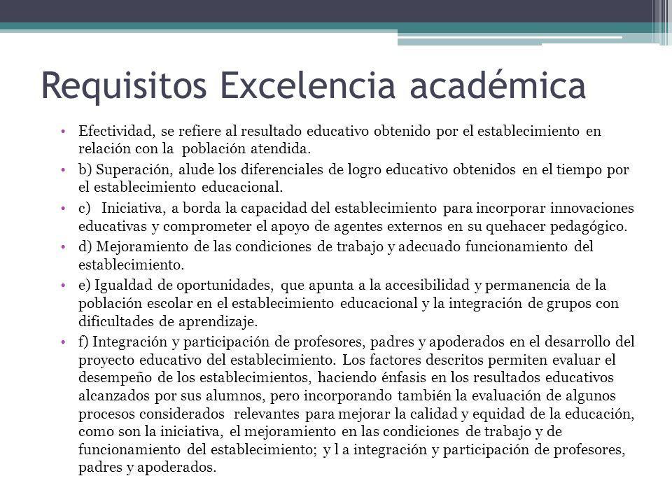 Requisitos Excelencia académica Efectividad, se refiere al resultado educativo obtenido por el establecimiento en relación con la población atendida.