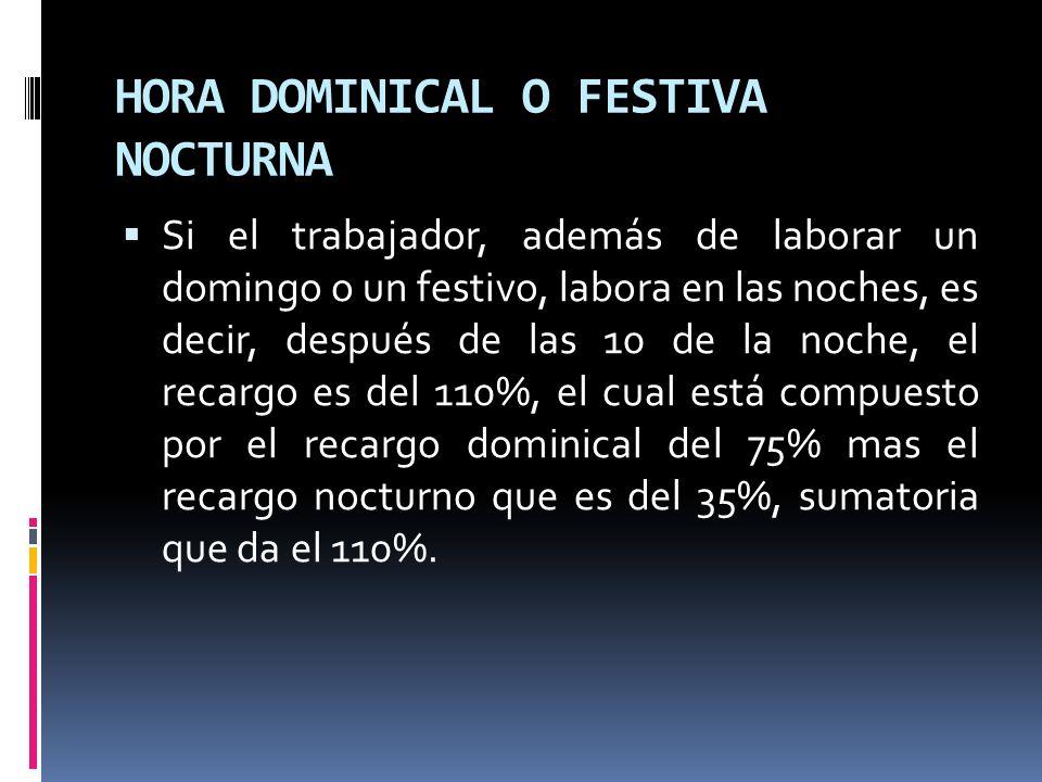 HORA DOMINICAL O FESTIVA NOCTURNA Si el trabajador, además de laborar un domingo o un festivo, labora en las noches, es decir, después de las 10 de la
