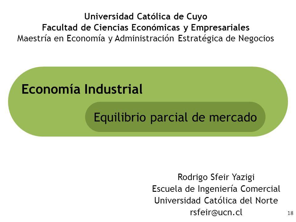 18 Rodrigo Sfeir Yazigi Escuela de Ingeniería Comercial Universidad Católica del Norte rsfeir@ucn.cl Economía Industrial Equilibrio parcial de mercado