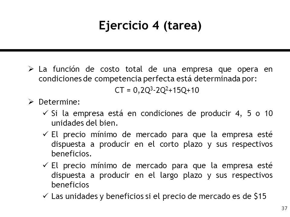 37 Ejercicio 4 (tarea) La función de costo total de una empresa que opera en condiciones de competencia perfecta está determinada por: CT = 0,2Q 3 -2Q