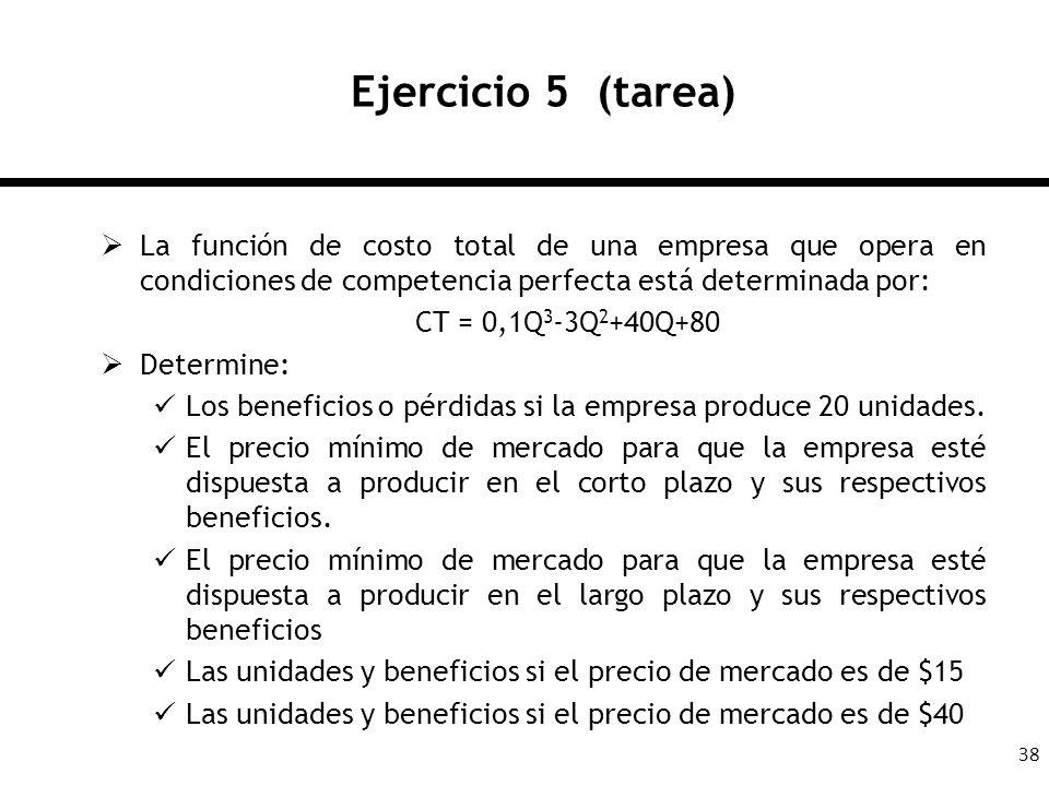 38 Ejercicio 5 (tarea) La función de costo total de una empresa que opera en condiciones de competencia perfecta está determinada por: CT = 0,1Q 3 -3Q