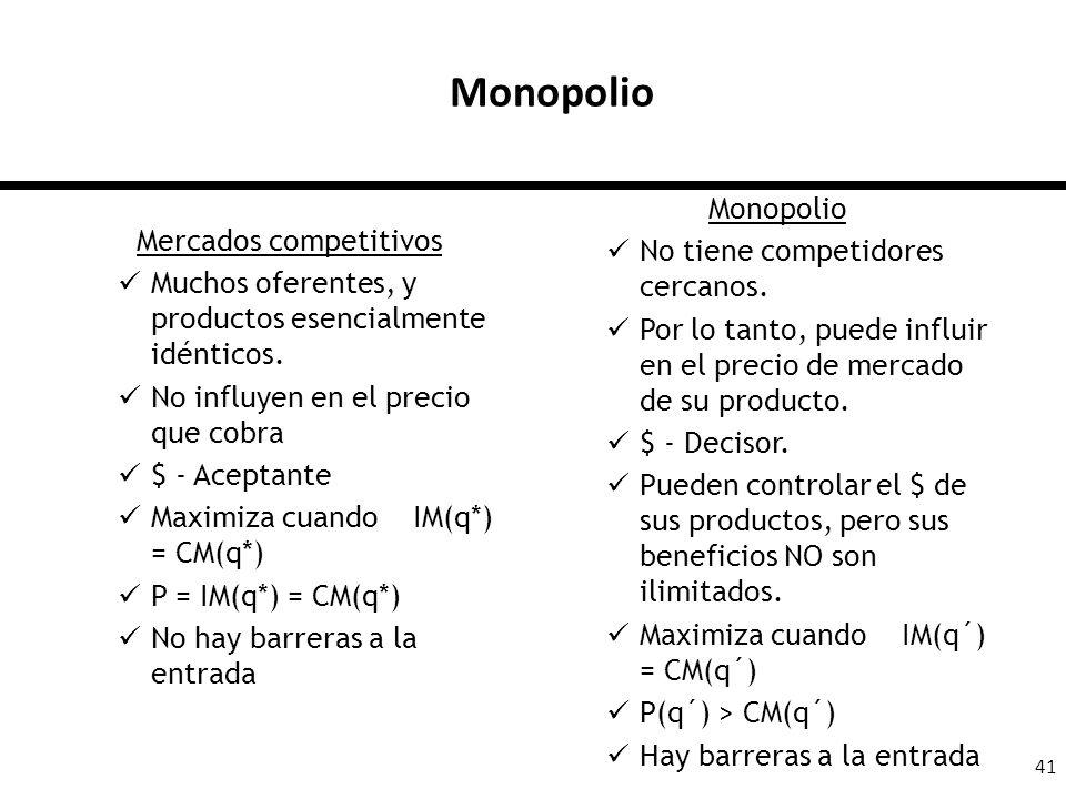 41 Monopolio Mercados competitivos Muchos oferentes, y productos esencialmente idénticos. No influyen en el precio que cobra $ - Aceptante Maximiza cu