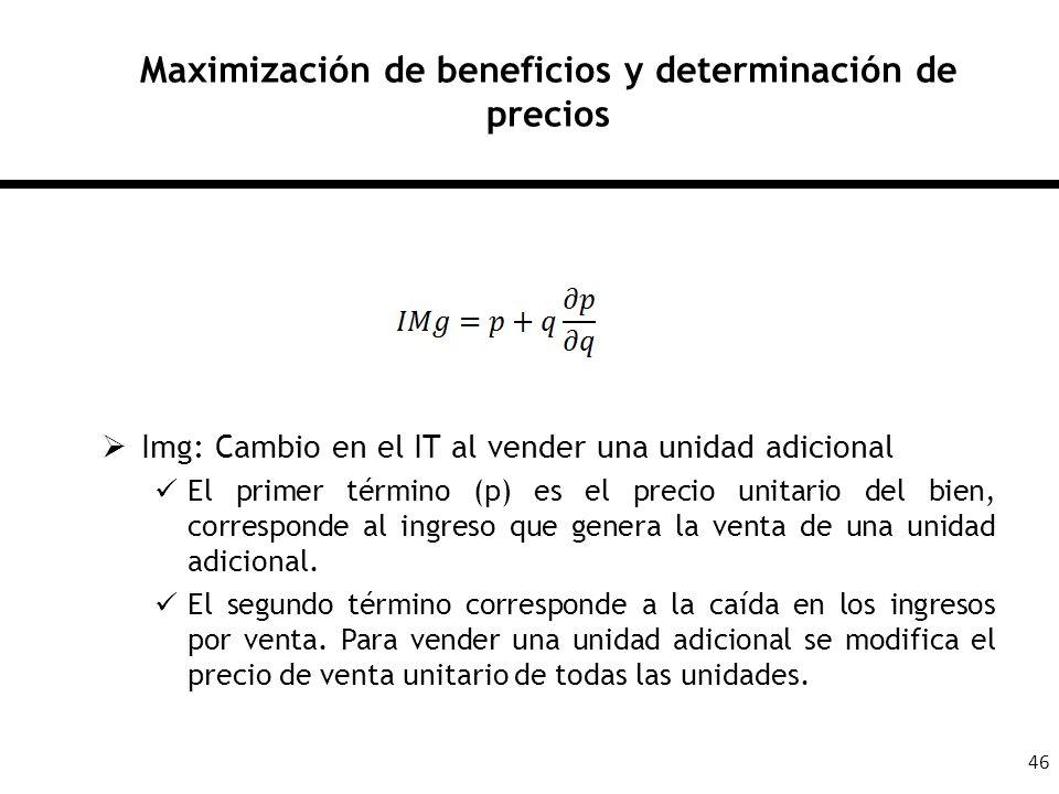 46 Maximización de beneficios y determinación de precios Img: Cambio en el IT al vender una unidad adicional El primer término (p) es el precio unitar