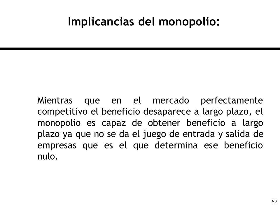52 Implicancias del monopolio: Mientras que en el mercado perfectamente competitivo el beneficio desaparece a largo plazo, el monopolio es capaz de ob