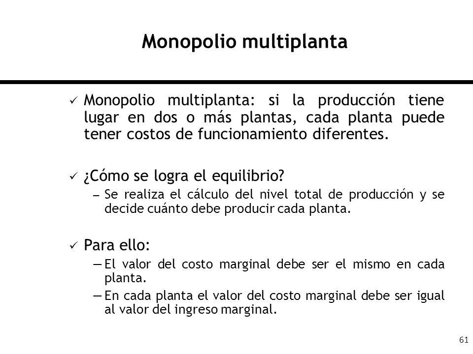 61 Monopolio multiplanta Monopolio multiplanta: si la producción tiene lugar en dos o más plantas, cada planta puede tener costos de funcionamiento di