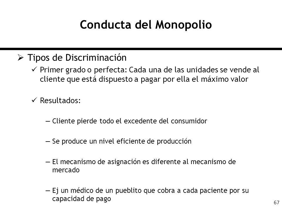 67 Conducta del Monopolio Tipos de Discriminación Primer grado o perfecta: Cada una de las unidades se vende al cliente que está dispuesto a pagar por
