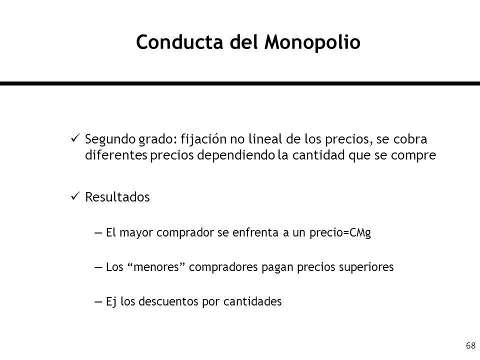 68 Conducta del Monopolio Segundo grado: fijación no lineal de los precios, se cobra diferentes precios dependiendo la cantidad que se compre Resultad