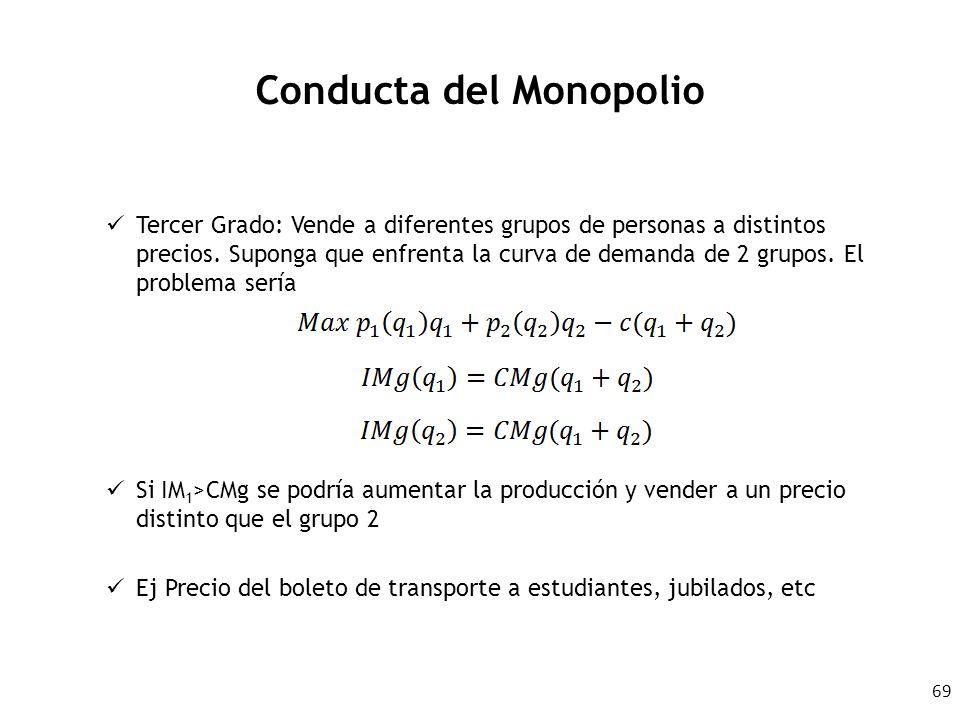69 Conducta del Monopolio Tercer Grado: Vende a diferentes grupos de personas a distintos precios. Suponga que enfrenta la curva de demanda de 2 grupo