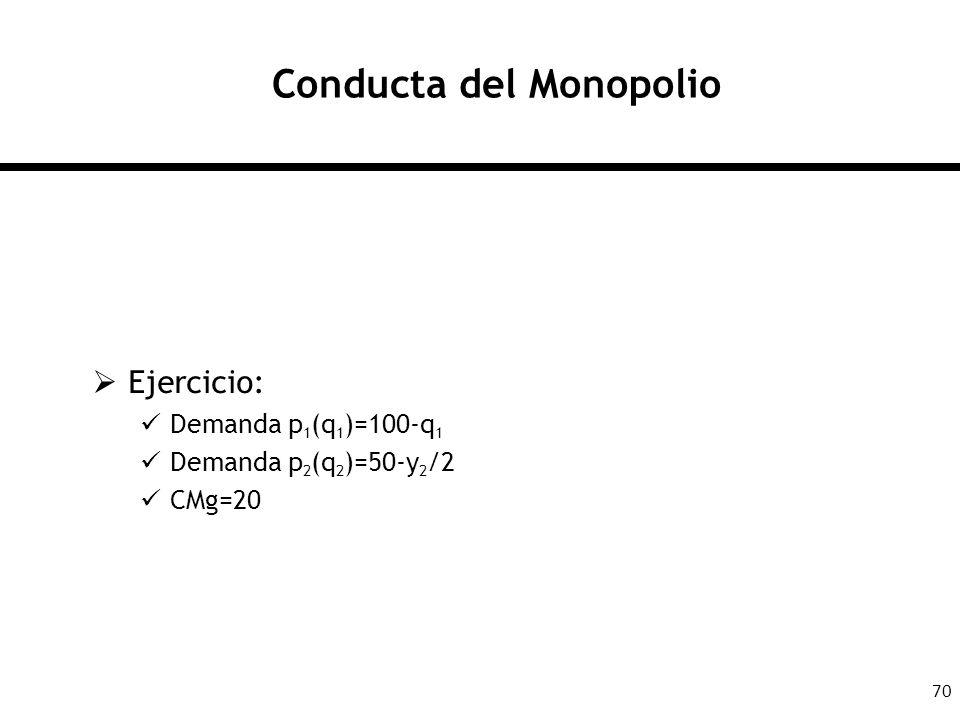 70 Conducta del Monopolio Ejercicio: Demanda p 1 (q 1 )=100-q 1 Demanda p 2 (q 2 )=50-y 2 /2 CMg=20