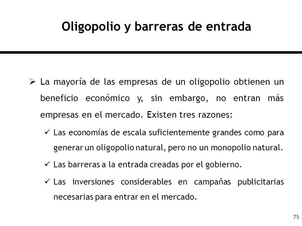 75 Oligopolio y barreras de entrada La mayoría de las empresas de un oligopolio obtienen un beneficio económico y, sin embargo, no entran más empresas