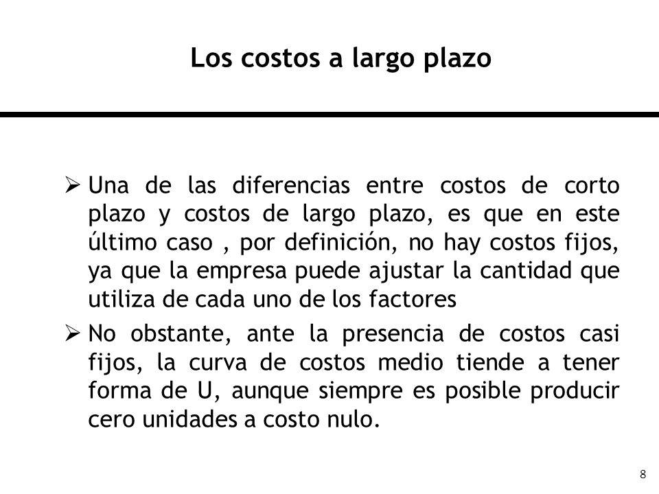 9 Los costos a largo plazo Cuando se tiene un factor fijo, por ejemplo, el tamaño de planta (k), entonces la función de costos de corto plazo está representada por C s (y,k) Desde una perspectiva de largo plazo, cuando la empresa pueda ajustar el tamaño de planta, entonces k(y) Por lo tanto, la función d costos de largo plazo es C s (y,k(y)), ya que la empresa puede ajustar óptimamente el tamaño de su planta, lo que hace que la función de costos de largo plazo sea la función de costos de corto plazo evaluada en la elección óptima de los factores fijos.