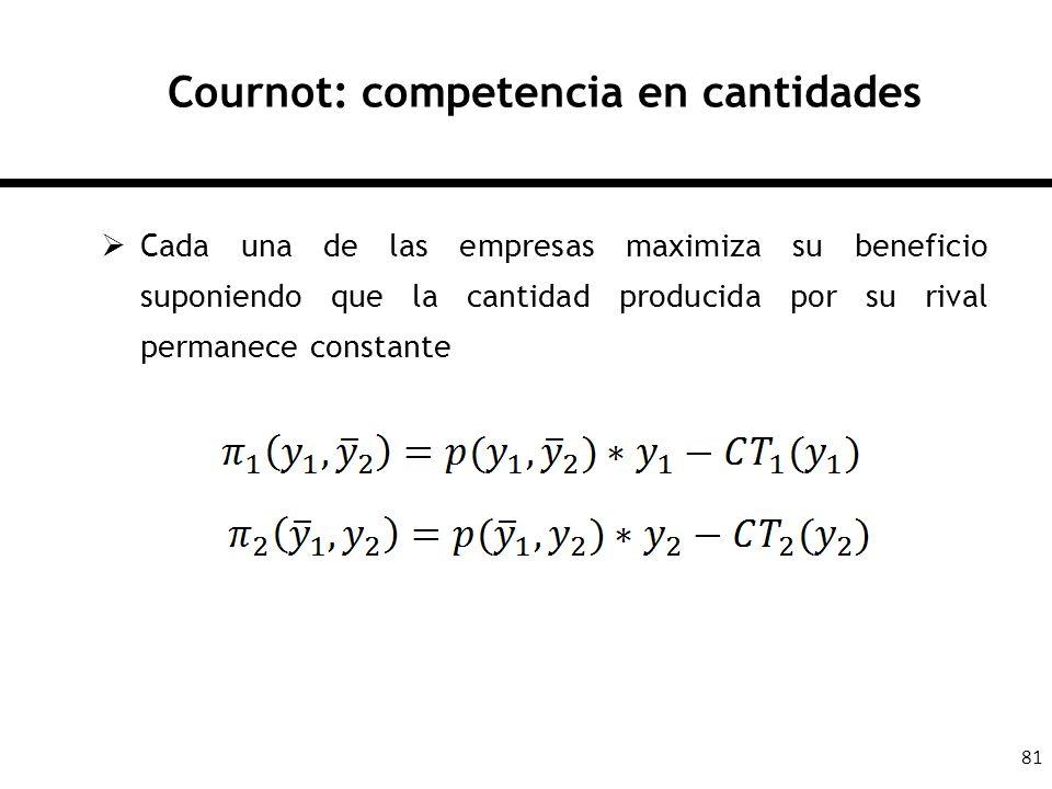 81 Cournot: competencia en cantidades Cada una de las empresas maximiza su beneficio suponiendo que la cantidad producida por su rival permanece const