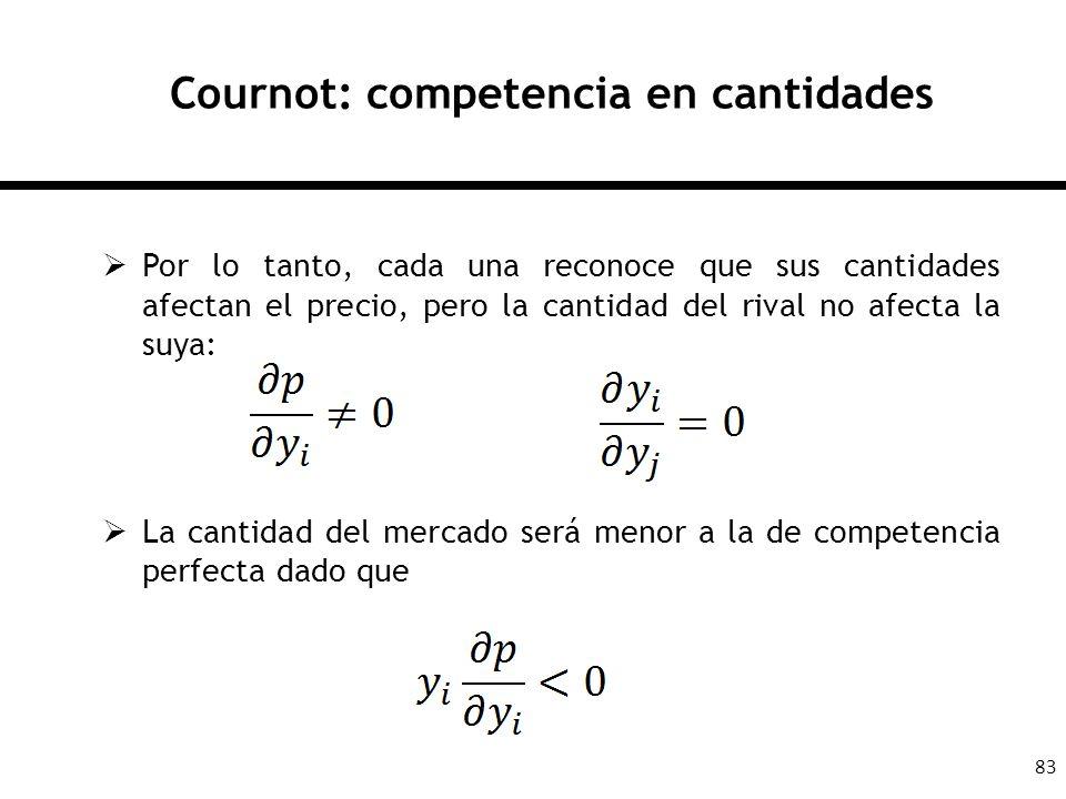 83 Cournot: competencia en cantidades Por lo tanto, cada una reconoce que sus cantidades afectan el precio, pero la cantidad del rival no afecta la su