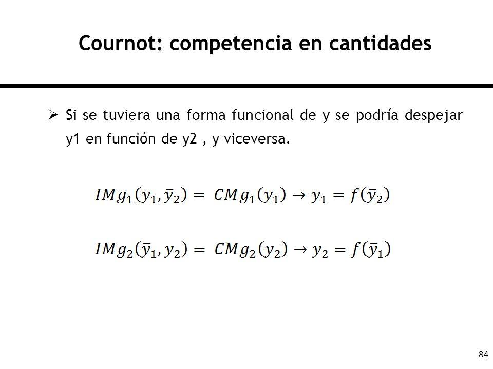 84 Cournot: competencia en cantidades Si se tuviera una forma funcional de y se podría despejar y1 en función de y2, y viceversa.