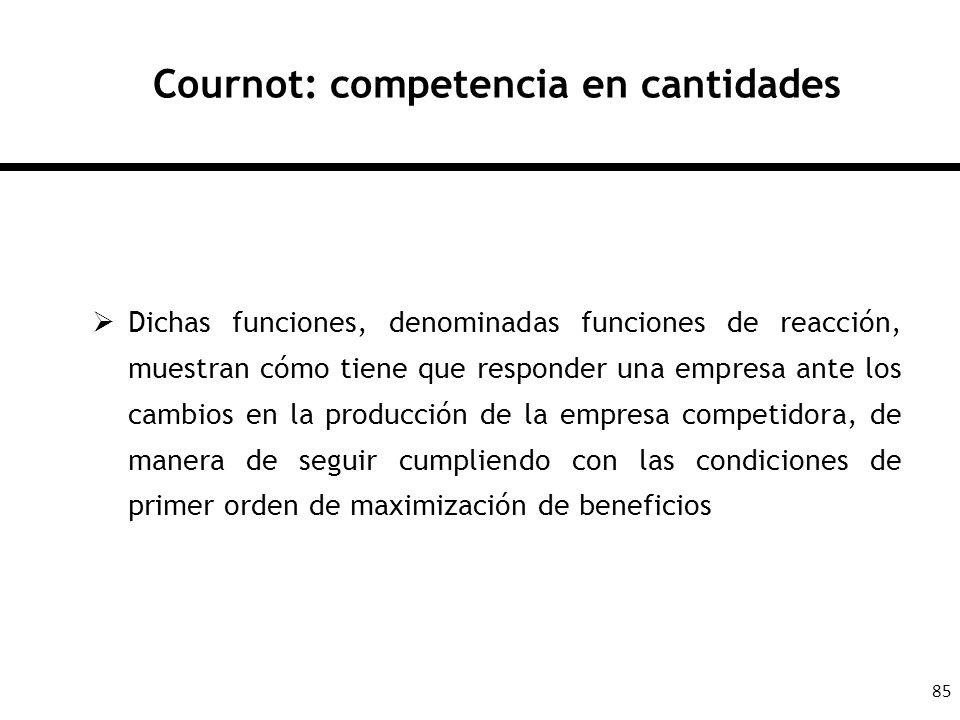 85 Cournot: competencia en cantidades Dichas funciones, denominadas funciones de reacción, muestran cómo tiene que responder una empresa ante los camb