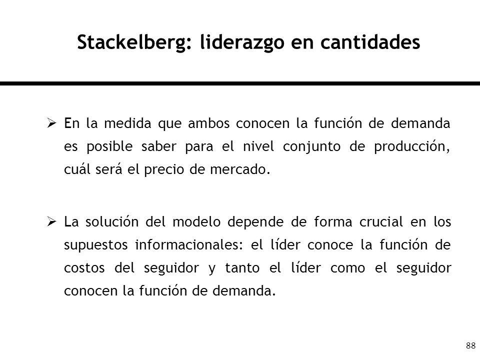 88 Stackelberg: liderazgo en cantidades En la medida que ambos conocen la función de demanda es posible saber para el nivel conjunto de producción, cu