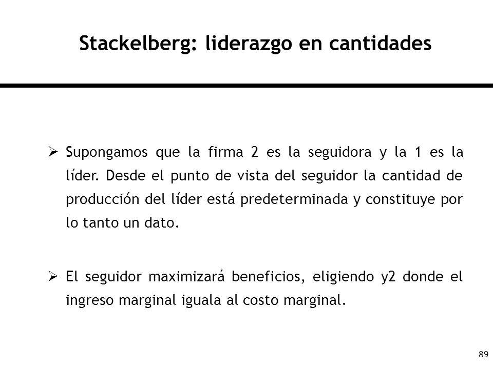 89 Stackelberg: liderazgo en cantidades Supongamos que la firma 2 es la seguidora y la 1 es la líder. Desde el punto de vista del seguidor la cantidad