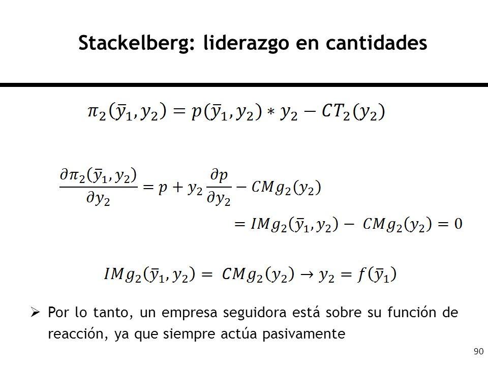 90 Stackelberg: liderazgo en cantidades Por lo tanto, un empresa seguidora está sobre su función de reacción, ya que siempre actúa pasivamente