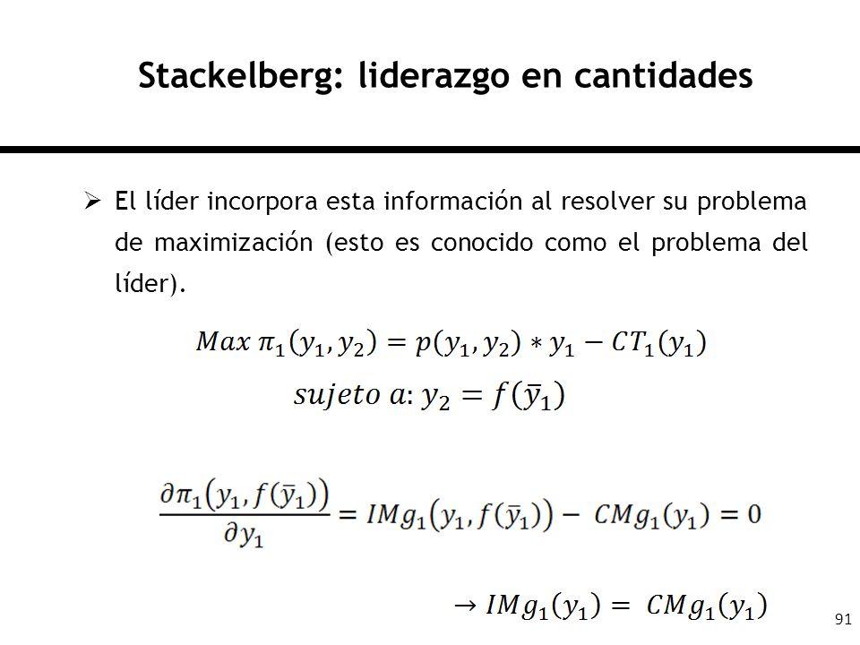 91 Stackelberg: liderazgo en cantidades El líder incorpora esta información al resolver su problema de maximización (esto es conocido como el problema