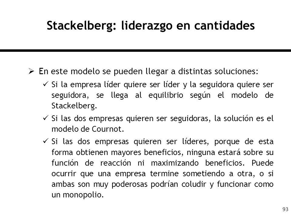 93 Stackelberg: liderazgo en cantidades En este modelo se pueden llegar a distintas soluciones: Si la empresa líder quiere ser líder y la seguidora qu