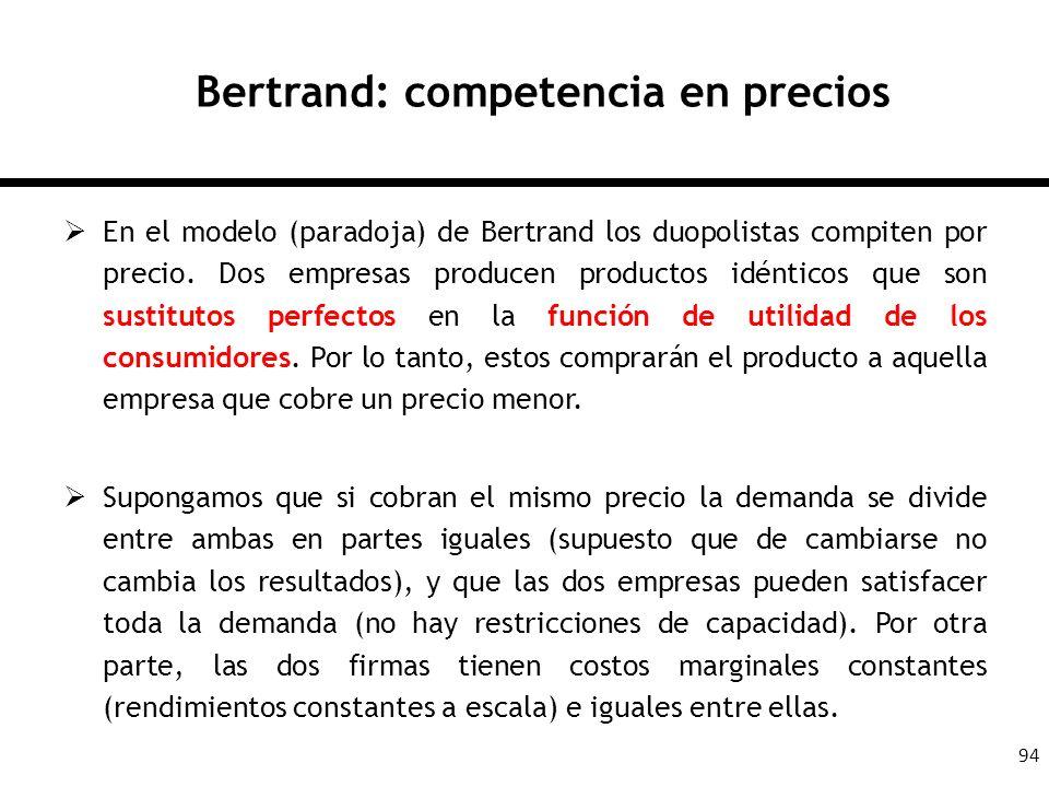 94 Bertrand: competencia en precios En el modelo (paradoja) de Bertrand los duopolistas compiten por precio. Dos empresas producen productos idénticos
