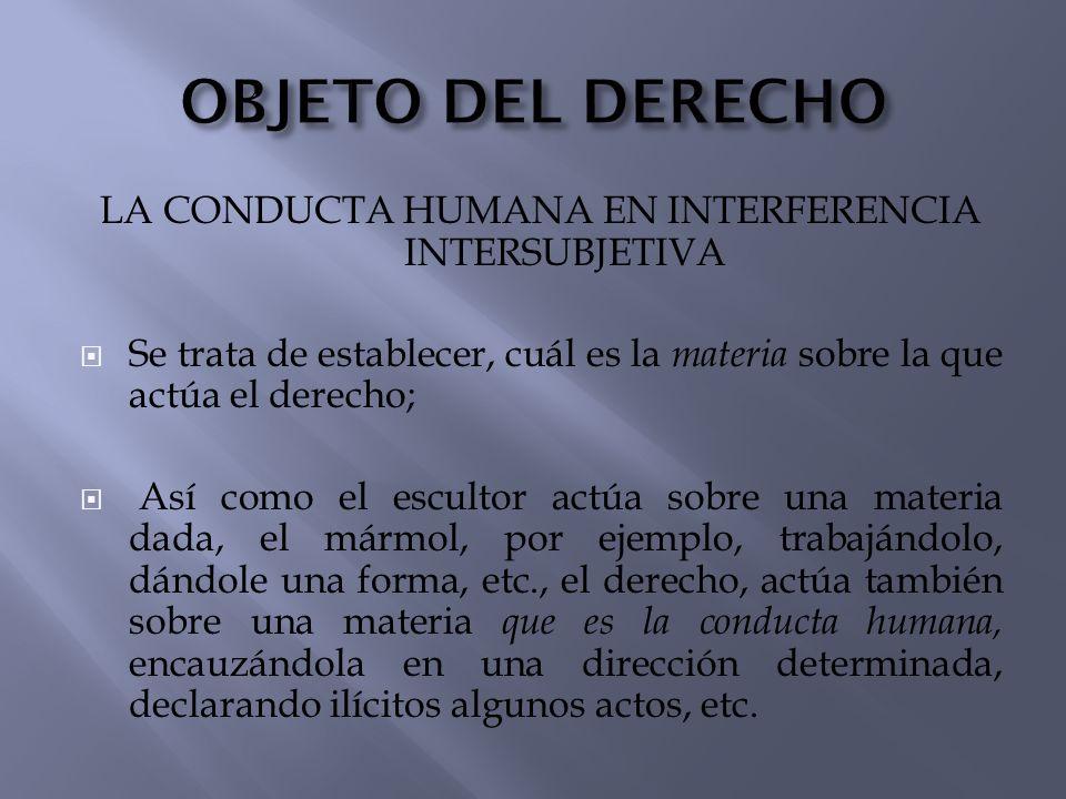 LA CONDUCTA HUMANA EN INTERFERENCIA INTERSUBJETIVA Se trata de establecer, cuál es la materia sobre la que actúa el derecho; Así como el escultor actú