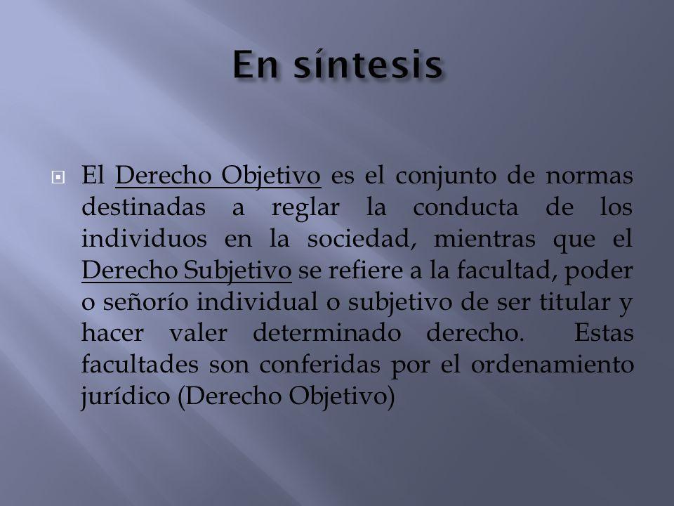 El Derecho Objetivo es el conjunto de normas destinadas a reglar la conducta de los individuos en la sociedad, mientras que el Derecho Subjetivo se re