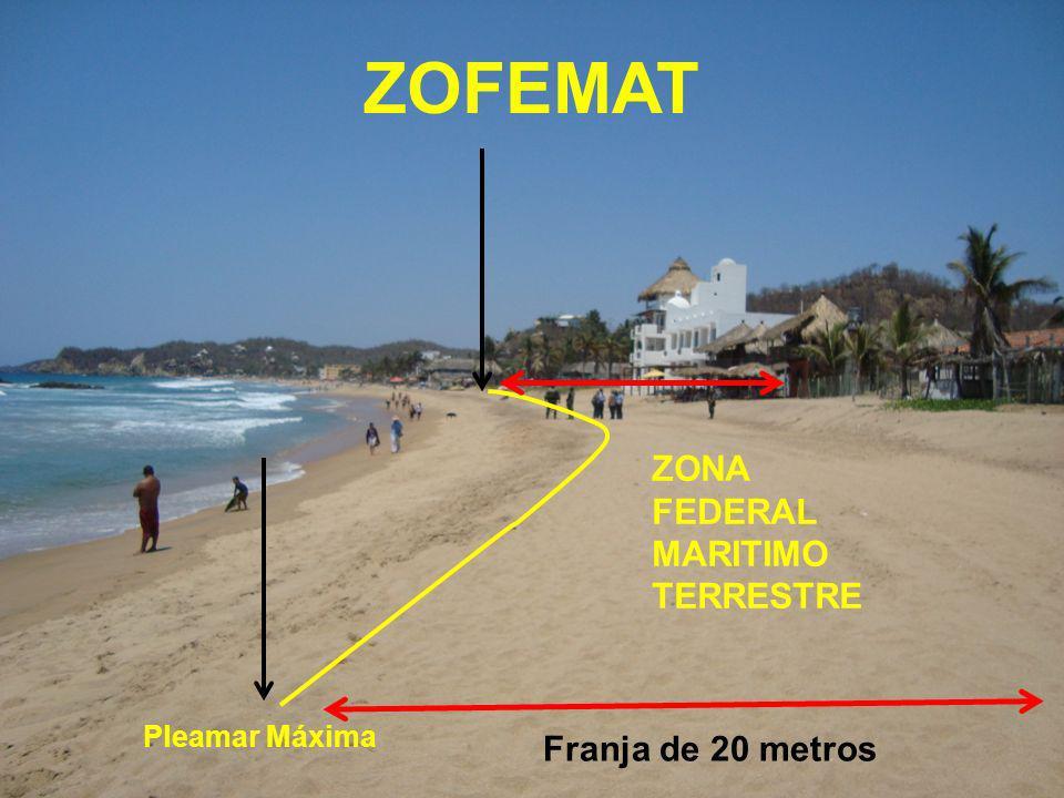 ZOFEMAT Tratándose de costas que carezcan de playas y presenten formaciones rocosas o acantilados, se determinará la ZOFEMAT dentro de una faja de 20 metros contigua al litoral marino, únicamente cuando la inclinación de dicha faja sea de 30 grados o menor en forma contínua.